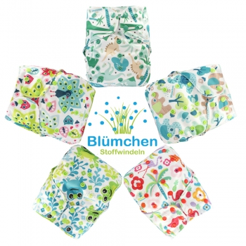 Blümchen Tagespaket Drucki All-in-One V2 Windel gemustert (3-16kg)