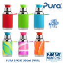 Pura Stainless steel sport bottle 500ml with sleeve